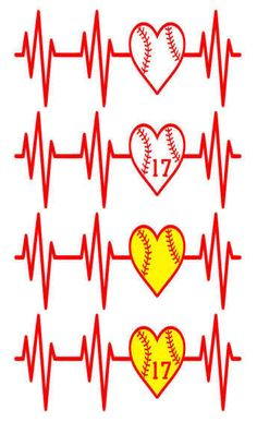 Baseball Softball Heartbeat Window Decal by SimplyBStudio83