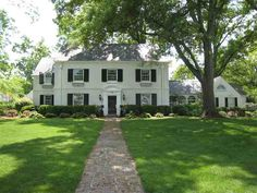white with black shutters- classic New England Homes, New Homes, Garden City Ny, Paver Walkway, Black Shutters, Home Board, Small Apartment Decorating, My Dream Home, Dream Homes