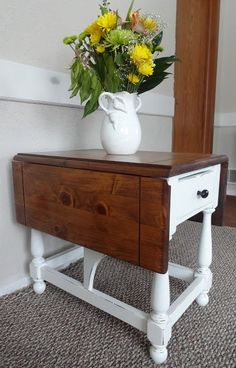 Ethan Allen side table makeover in white with wood top