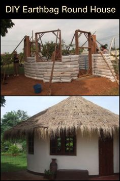 How to Build an Earthbag Round House  This interesting home is made from earthbags. Aside from being durable structures, earthbag homes are also cheap. Bags can be filled with either dirt from the property itself, or other available sources. It can be built practically anywhere in the world. Wooden Pallet Projects, Wooden Pallets, Cheap Land, Natural Homes, Round House, New Home Designs, Outdoor Ideas, Tiny House, Gazebo