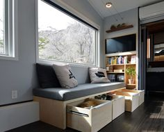 SHED tiny house, tiny house, tiny home, sitting area, couch, interior