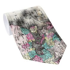 Vintage Map of The World (1852) - Stylized Neck Tie