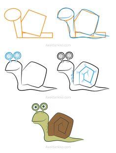 How to draw a snail - Comment dessiner un escargot