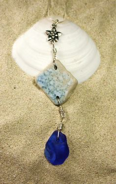 Sea Glass and Pottery NecklaceBluer Than by SilverBeachSeaGlass, $36.00