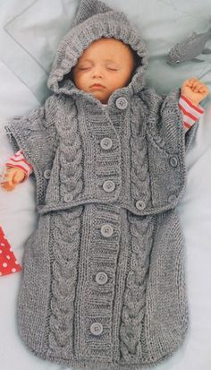Knitted Baby Sleeping Bag, Cocoon, Aran, Cable, Knitting Pattern, PDF Instant Download.