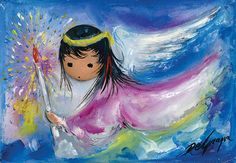 """DeGrazia's angels, """"Angel in Flight"""", oil on canvas. DeGrazia Gallery in the Sun open daily from 10-4"""
