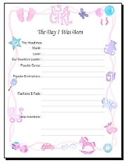 over 30 FREE printable baby book pages. Choose from boy or girl layouts and 8.5 x 11 or 12 x 12. And they're cute, too!