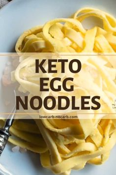 These Homemade Keto Egg Noodles Recipe with a perfect texture and only 4 ingredients and 8 minutes to bake are a perfect addition to your Low Carb Living. Fully Gluten-Free, Low Carb and easy to make, Low Carb Noodles, Gluten Free Noodles, Gluten Free Pasta, Gluten Free Egg Noodle Recipe, Gluten Free Homemade Pasta, Carb Free Pasta, Gluten Free Carbs, Homemade Pasta Dough, Homemade Egg Noodles