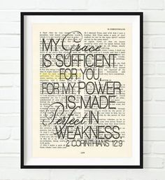 My grace is sufficient for you - 2 Corinthians 12:9 - Vintage Bible Highlighted Verse Scripture Page- Christian Wall ART PRINT