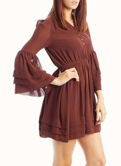 bell sleeve button-up dress