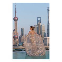 Emma Watson Wears Sheer Cloak and Jewel Dress to Shanghai Beauty and the Beast Premiere