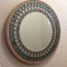 Mosaic mirror by PaulaHallMosaics on Etsy Stained Glass Mirror, Mirror Mosaic, Mosaic Art, Mosaic Tiles, Glass Mirrors, Glass Tiles, Plywood Board, Color Tile, Grout
