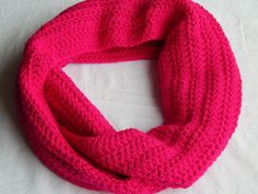 Neon Fuschia Pink Infinity Scarf Womens Crochet Cowl Knit Circle Scarf Fall and Winter Neckwarmer #etsymnt #shopetsy