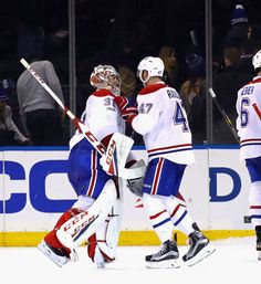 NEW YORK, NY - FEBRUARY 21: Carey Price #31 and Alexander Radulov #47 of the Montreal Canadiens celebrate their 3-2 shootout victory over the New York Rangers at Madison Square Garden on February 21, 2017 in New York City. (Photo by Bruce Bennett/Getty Images)
