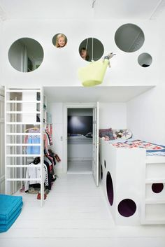 Instead of having a suspended bed you can opt for a suspended play area