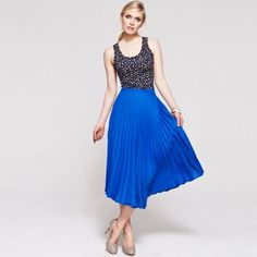 HotSquash Cobalt pleat skirt in clever fabric- at Debenhams.com
