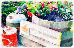 Waterlogue App Garden Vignette www.organizedclutterqueen.blogspot.com