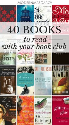 "40 wonderful ""discussable"" books to read with your book club: because it takes more than a great book to make a great book club novel. 40 ""discussable"" novels to read with your book club. Book Club Reads, Book Club Books, Book Nerd, Book Lists, The Book, Book Clubs, Book Club List, Book Suggestions, Book Recommendations"