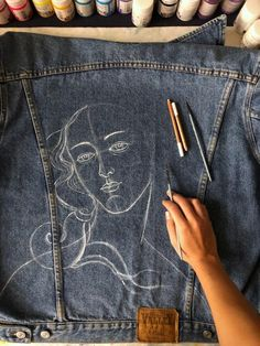 Van Gogh Starry Night denim jacket Hand painted denim jacket Birth of Venus Botticelli in Painted Denim Jacket, Painted Jeans, Painted Clothes, Hand Painted, Diy Clothing, Custom Clothes, Designer Clothing, Denim Kunst, Gilet Jeans