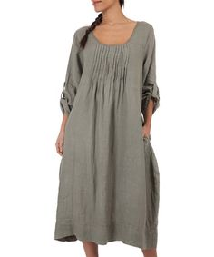 Another great find on #zulily! Khaki Tina Linen Maxi Dress #zulilyfinds