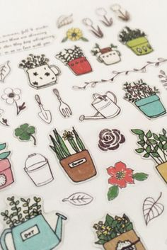 Plant Cactus Leaf Flower Garden Stickers ~ Journals Planners Scrapbooking Cards ~ Cute Kawaii