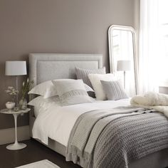 Beautiful calming grey tones & textures in the bedroom ~ lovingly repinned by www.skipperwoodhome.co.uk