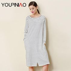 Women Long #sleeve #Striped #Nightgown #Sleepwear  Sleepshirt