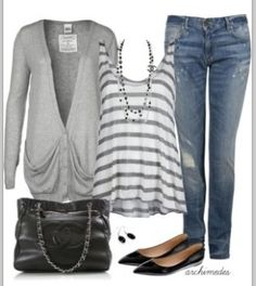 Love the grey colors, soft flowing tee, comfy long sweater, casual jeans