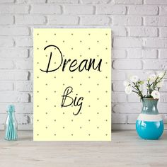 Dream big Wall Art, Instant Download Printable Poster Kids Room Decor. This is the perfect wall art  design to gift someone or just for your own kids room.#printableart #wallart #kidsroom #playroomwallart #nursery #dotwallart #yellowdesign #mumlife #dreambig #minimalistwallart #instantdownload #minimalist #kidsbedroom Big Wall Art, Dots Design, Kidsroom, Wall Art Designs, Nursery Wall Art, Dream Big, Printable Art, Minimalist, Room Decor