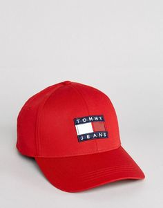 384c2b171ab Tommy Jeans 90 s Capsule Logo Baseball Cap in Red - Red Reds Baseball
