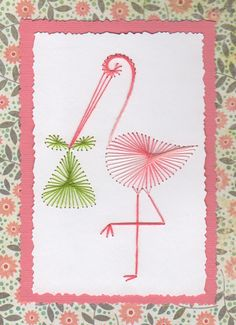 Hand Stitched NEW BABY STORK Card by threadsofsunshine on Etsy, 6oo
