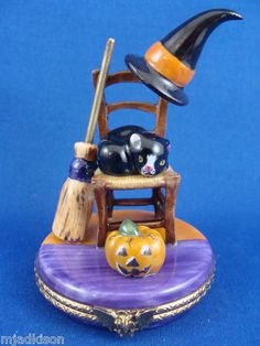 Chair with Cat, Witch's Hat, Broom, & Pumpkin authentic LIMOGES box | eBay