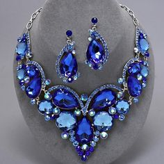 WEDDING FORMAL MOB ULTIMATE BLUE LARGE CHUNKY CRYSTAL Necklace Set*Chic & Trendy