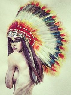 Native American headdress tattoo