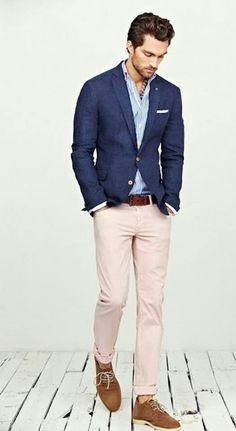 8a4bb4023d2249 Spring   Summer - casual look - preppy style - beach style - dark blue slim  fit blazer + denim shirt + brown belt + kaki chinos + brown suede oxfords +  ...