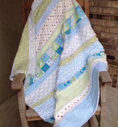 Flannel Rag Strip Quilt Baby/Toddler Boy Blue by JPSewCraftCreate