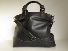 black soft leather tote bag by the leather store | notonthehighstreet.com