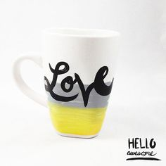 $10 Brighten up your sweetheart's day with this lovely brush lettered 12 oz white porcelain square rounded mug with a yellow and grey ombre painted decoration. Perfect for your favorite hot drink or a gift for someone special.   This mug is made to order and usually ships within 3-5 business days a...