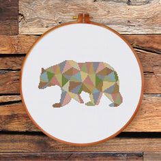 Geometric Polygon Bear cross stitch pattern by ThuHaDesign on Etsy