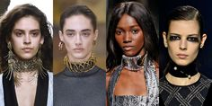We'll always have love in our hearts for the thin, velvet ribbon chokers of the '90s, but this season it's all about major statement chokers that fully cover your neck.  As seen at Lanvin, Loewe, Balmain, and Dries Van Noten