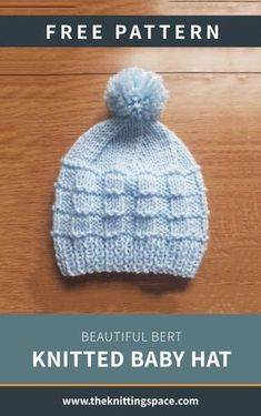Create this warm and cozy knitted hat for your little one. This piece also makes for a thoughtful handmade baby shower gift. Baby Cardigan Knitting Pattern Free, Baby Hats Knitting, Free Knitted Hat Patterns, Knitting Patterns For Babies, Newborn Knit Hat, Knitted Baby Beanies, Free Pattern, Knitted Hats Kids, Newborn Hats
