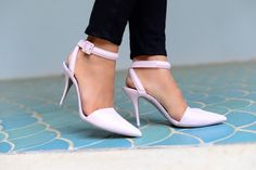 Alexander Wang pale pink heels with ankle straps