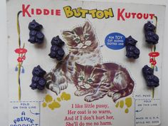 ButtonArtMuseum.com - Vintage Kitty Plastic Realistic Buttons on Original Card 1940'S