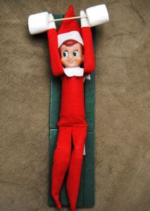 25 Elf on the Shelf Ideas... Here he is lifting weights.