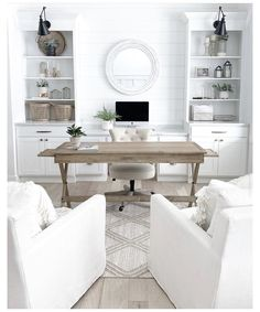 Cozy Home Office, Home Office Space, Home Office Design, Home Office Decor, Office Ideas, Office Spaces, White Home Office Furniture, Home Office White Desk, App Office