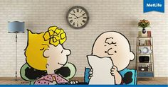 Sally and Charlie Charlie Brown Peanuts, Peanuts Gang, Metlife Snoopy, Childhood, Hero, Sally, Advertising, Fictional Characters, Beautiful