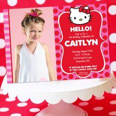 Hello Kitty Party - Invitation Printable - Hello Kitty Birthday - Amanda's Parties TO GO 4th Birthday, Birthday Celebration, Birthday Ideas, Birthday Parties, Hello Kitty Invitations, Hello Kitty Birthday, Kitty Party, Celebs, Celebrities