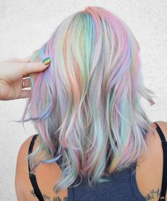 Holographic Hair Takes the Art of Self-Expression over the Rainbow Holographic Hair Trend and How to Try It Spring Hairstyles, Cool Hairstyles, Scene Hairstyles, Rainbow Hairstyles, Pink Hair, Blue Hair, Green Hair, White Hair, Pastel Rainbow Hair