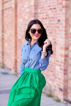 Printed Denim + Emerald | jcrew-chambray-button-up-top