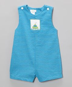Loving this Turquoise Boat Smocked Shortalls - Infant on #zulily! #zulilyfinds